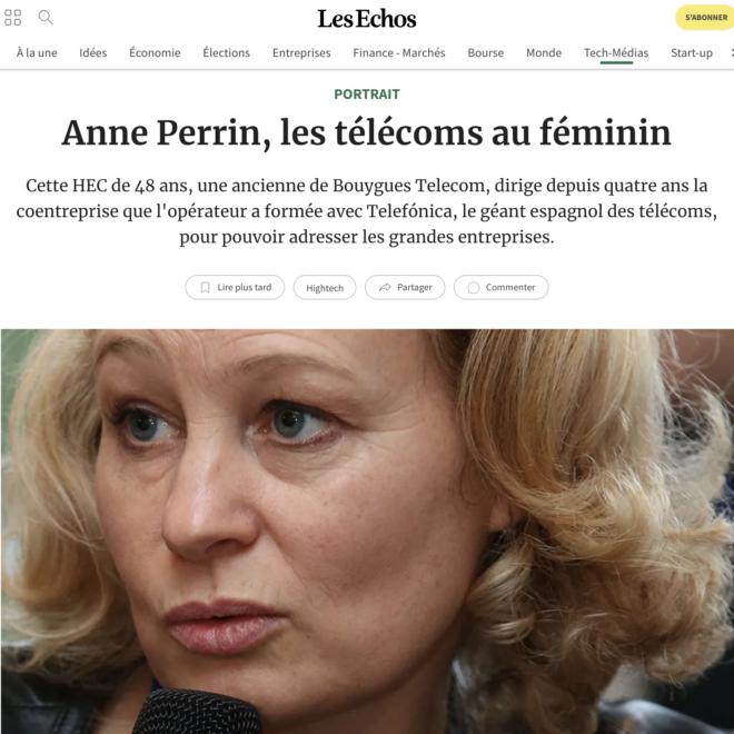Les Echos_Anne Perrin_Les télécoms au féminin